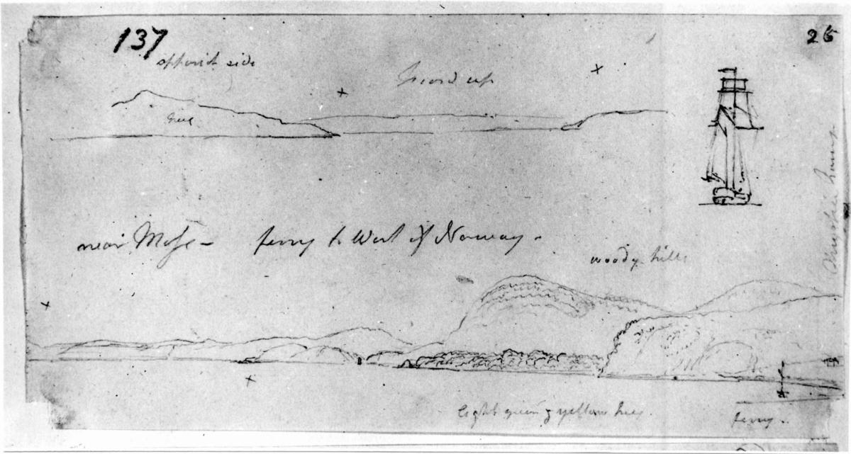"Moss, Østfold. Blyantskisse av John Edy: Drawings, Norway, 1800. ""Near Moss - kystlandskap, to deler"". Skissealbum utlånt av Deichmanske bibliotek."