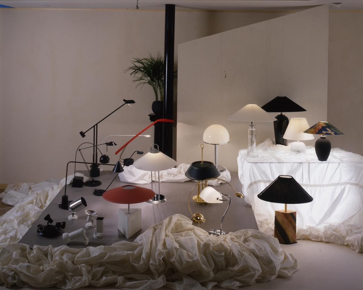 Bordlamper, arbeidslamper, punktlamper, illustrasjonsbilde fra Nye Bonytt 1988.