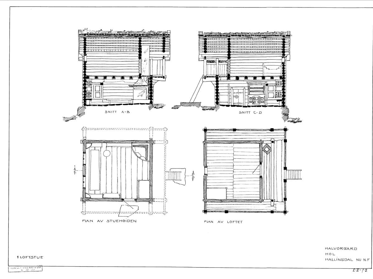 LOFTSTUE FRA HALVORSGARD I HOL, CA. 1750  Overført til museet 1911, gjenoppført 1913   Loftstuene var en vanlig bygningstype i Hallingdal, og har fellestrekk både med stua og loftet. I loftstua fra Halvorsgard var oppholdsrommet i første etasje, og her er det meste av den opprinnelige innredningen beholdt: en veggfast seng, et framskap, veggfaste benker, og to høyseter med hvert sitt kråskap. Mellom høysetene står et langbord med forsete. Veggene ved høysetene har fyllingspanel. En trapp på utsiden fører opp til svalen, og derfra er det dør inn til loftet, hvor sengklær og gangklær ble oppbevart. Her er seng og stenger til å henge klær på. Loft av denne typen ble opprinnelig brukt til stas- og gjestestue.  (Tekst hentet fra By og bygd 43, 2010)