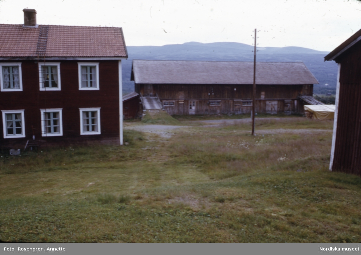 Bruksvallarna, fäbod, 1974. Byggnader, djur, människor och natur.