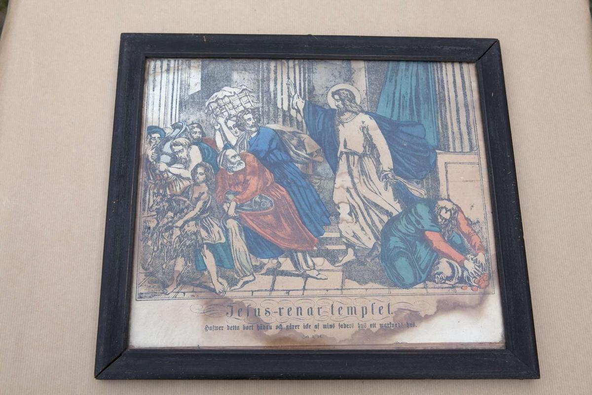 Jesus renar templet, Hafwer detta bort hädan och gören icke af mins faders hus ett marknads hus; John. 2, 16