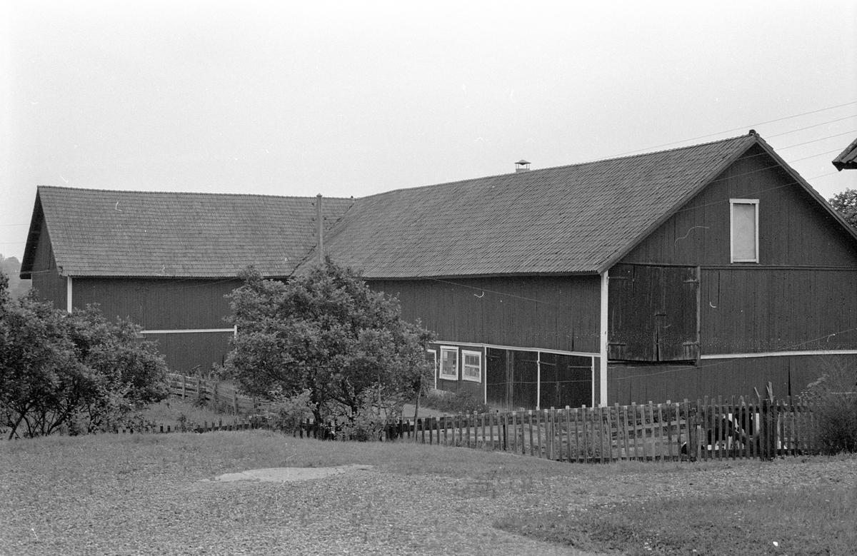 Ladugård och lada, Faringe 1:4, Faringe, Faringe socken, Uppland 1987.