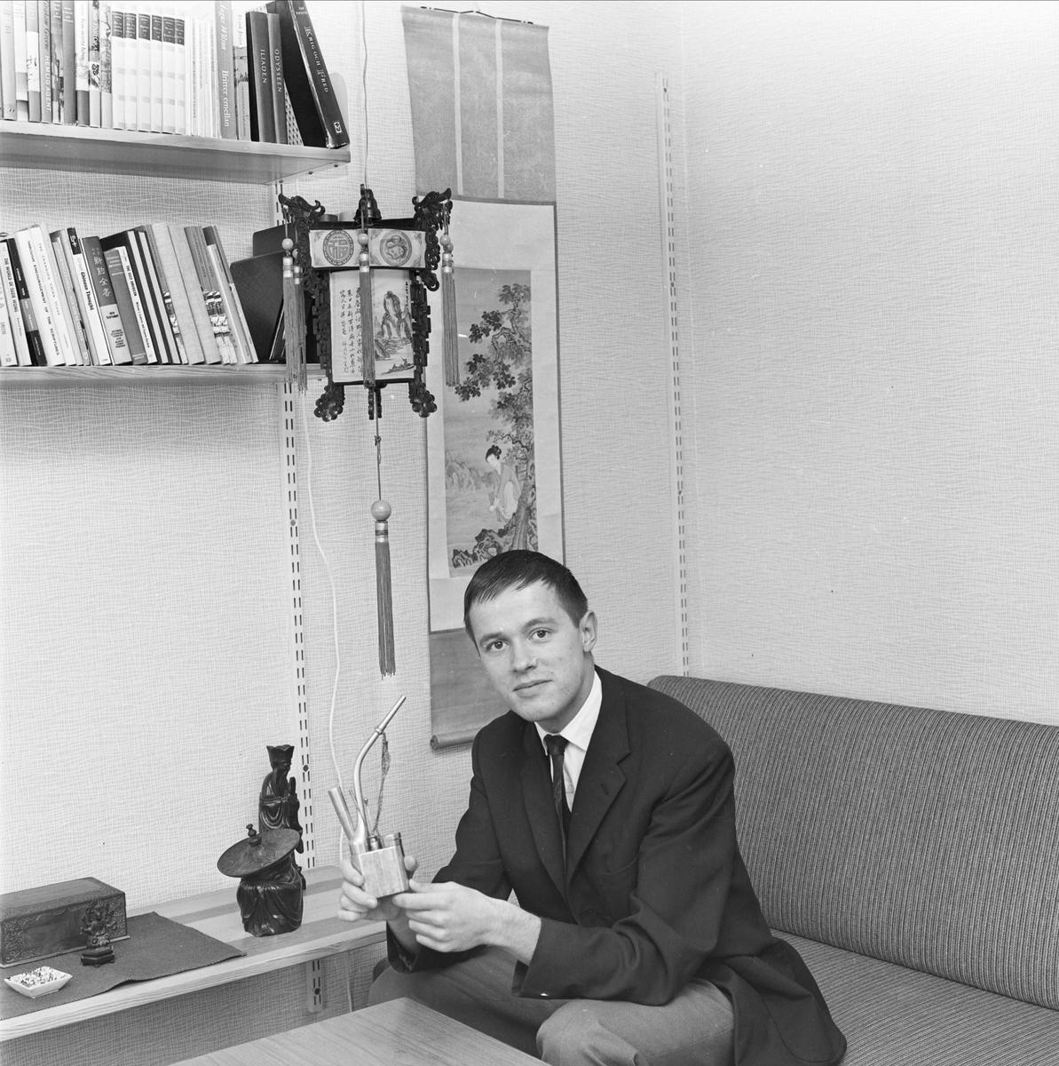 Kandidaten Olle Sjöholm hemkommen från Hong Kong, Uppsala september 1963