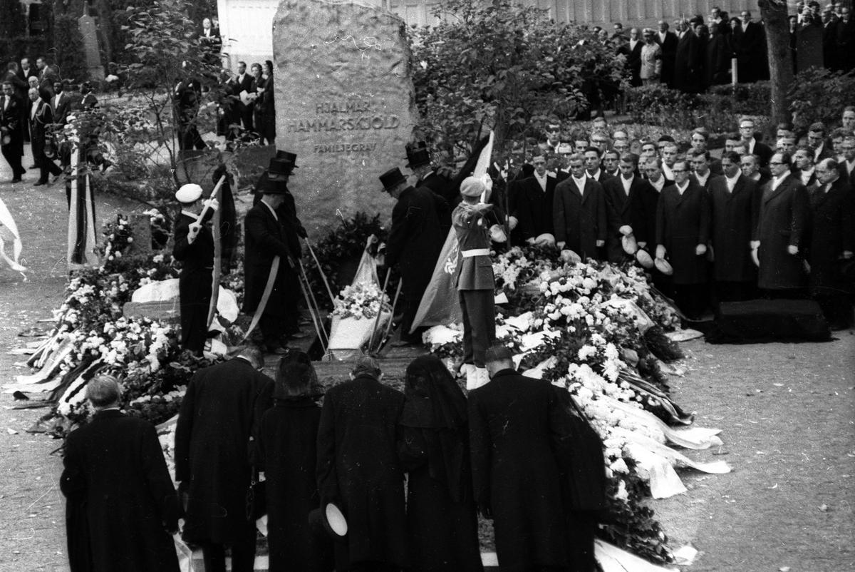 Dag Hammarskjölds begravning, Uppsala gamla kyrkogård, 29 september 1961