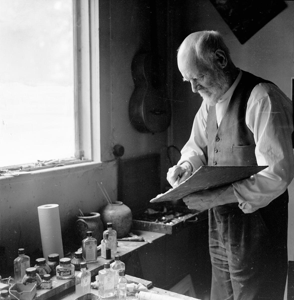 Konstnären Gusten Widerbäck, Uppsala augusti 1959
