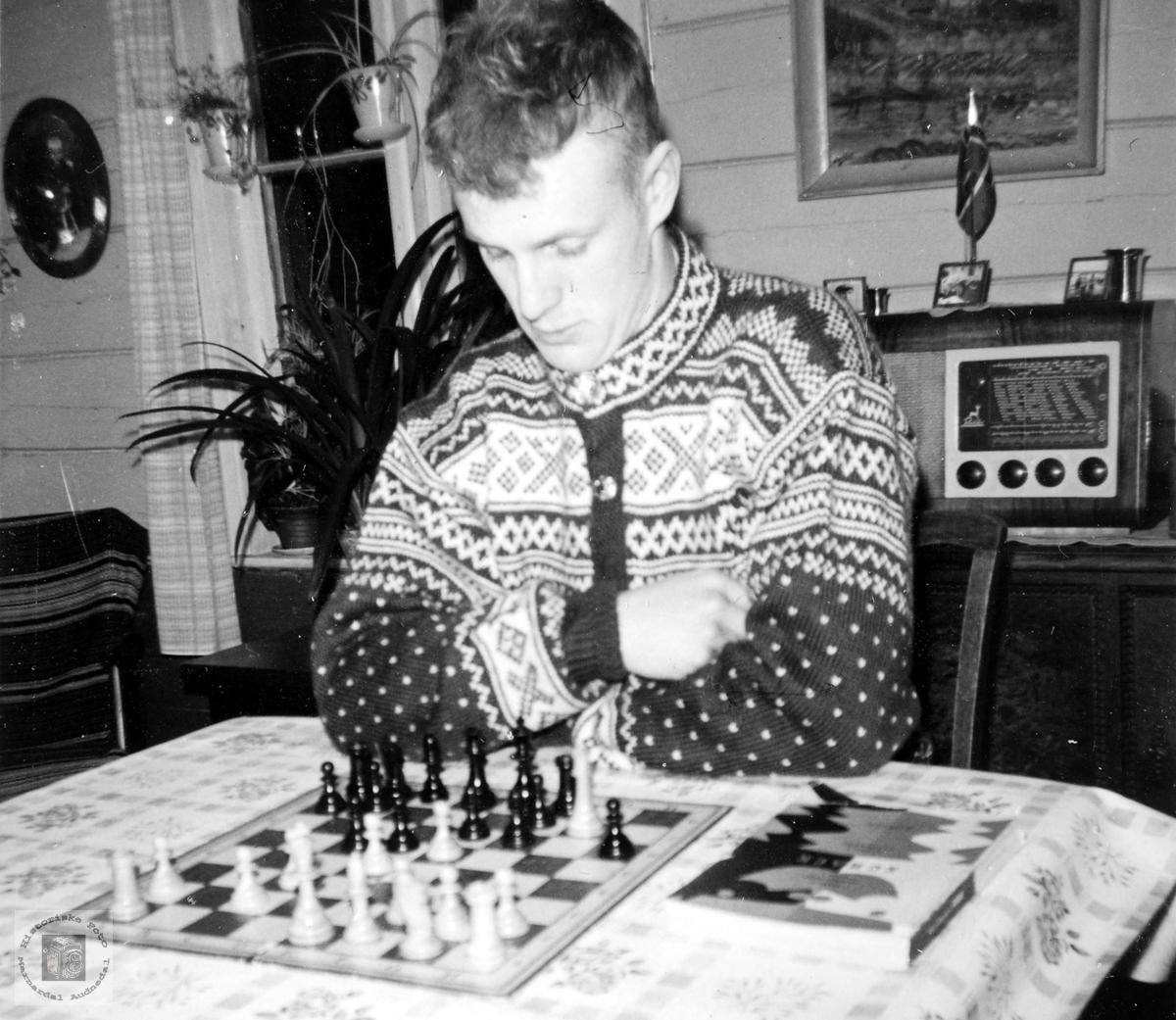Oddvar Iglebekk i dyp konsentrasjon over sjakkbrettet. Med røtter i Grindheim Audnedal.