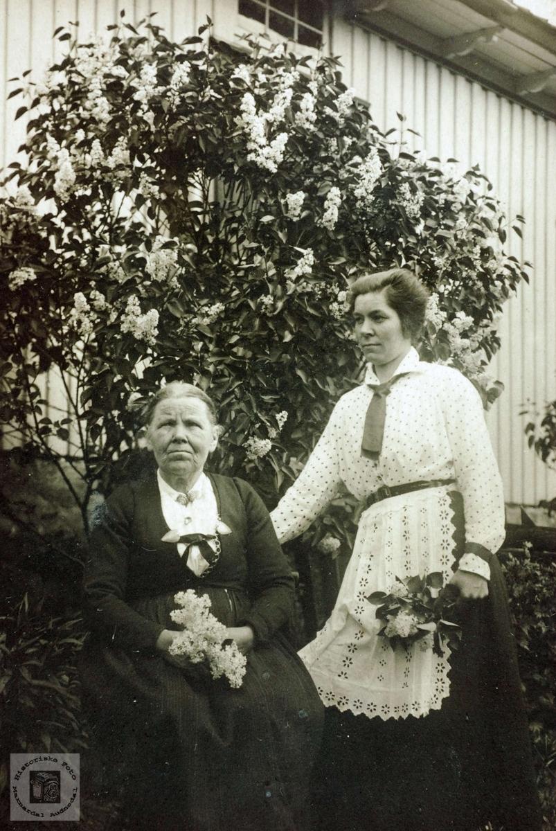 Portrett av Ingrid Ubostad og Anna Ubostad. Grindheim Audnedal.