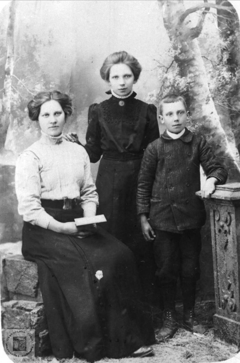 Søsknene Gunvor, Gunhild og Ragnvald Birkeland, Øyslebø.