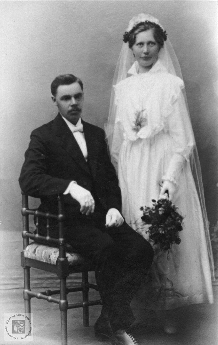 Portrett av brudeparet Waaler, Øyslebø.