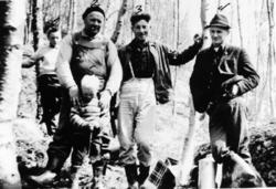 Gruppebilde, menn, gutter, skogplanting.