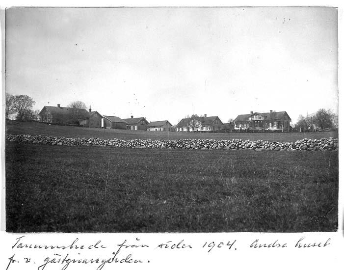 """Text på kortet: """"Tanumshede från söder 1904. Andra huset fr.v. gästgivaregården""""."""
