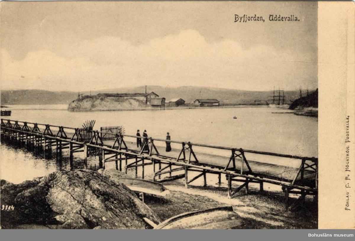 Tryckt text på bildens framsida: Byfjorden, Uddevalla. Förlag: C.R. Högström, Uddevalla.