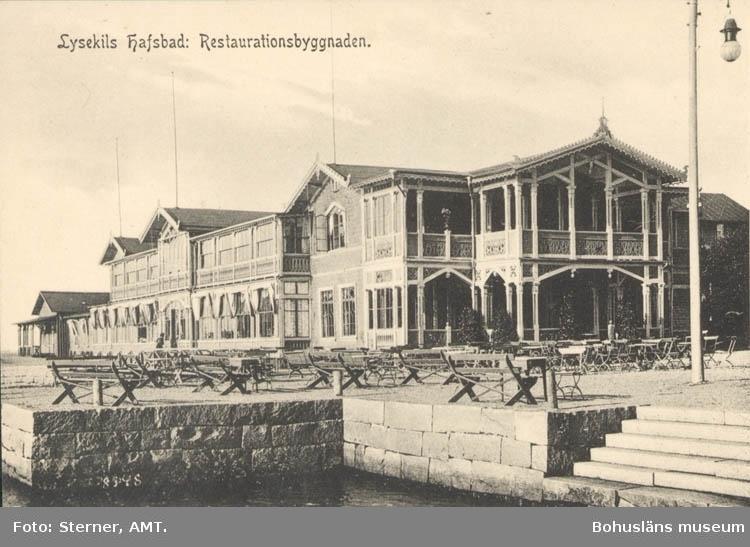 """Tryckt text på kortet: """"Lysekils hafsbad: Restaurationsbyggnad."""""""