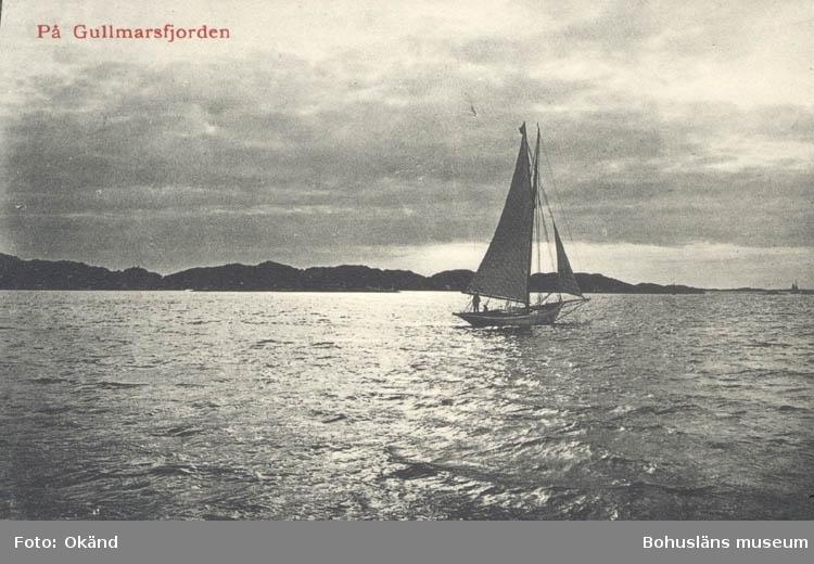 """Tryckt text på kortet: """"Månsken över Gullmarsfjorden.""""  """"Tekla Bengtssons Pappershandel, Fiskebäckskil."""""""