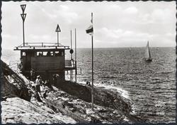 """Tryckt text på kortet: """"Marstrand. Regattadag."""" ::"""