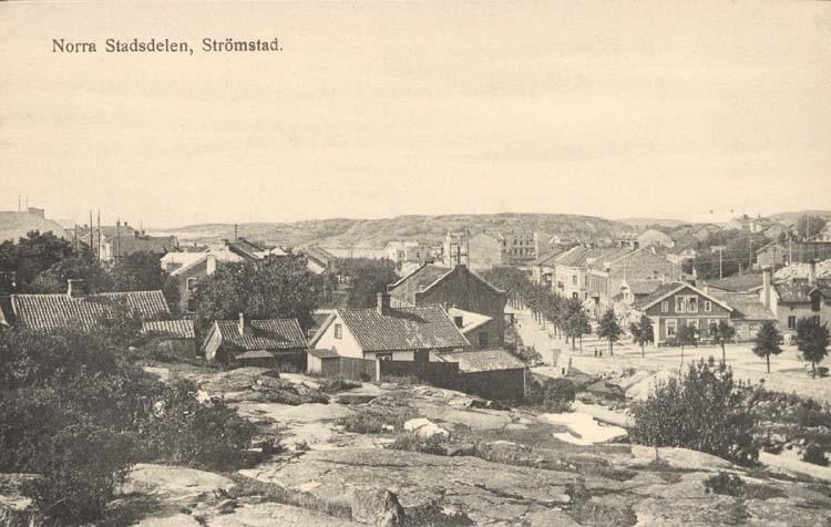 """Tryckt text på kortet: """"Norra Stadsdelen, Strömstad.""""  """"Förlag: Frida Dahlgren, Garn- o Kortvaruaffär."""""""