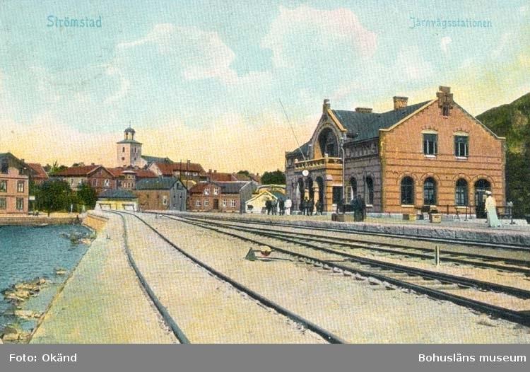 """Vykort. """"Strömstad Järnvägsstationen"""""""