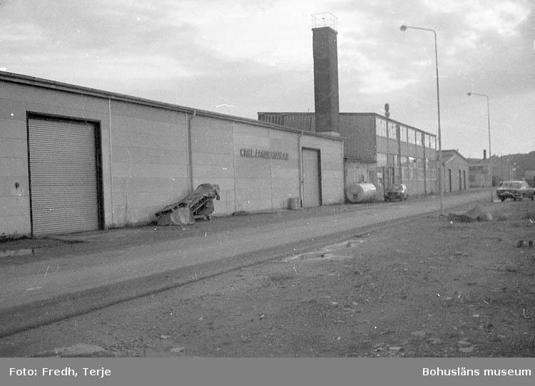 "Enligt fotografens notering: ""Olika fabriksbyggnader i Lysekil. Carl J. Andersson""."
