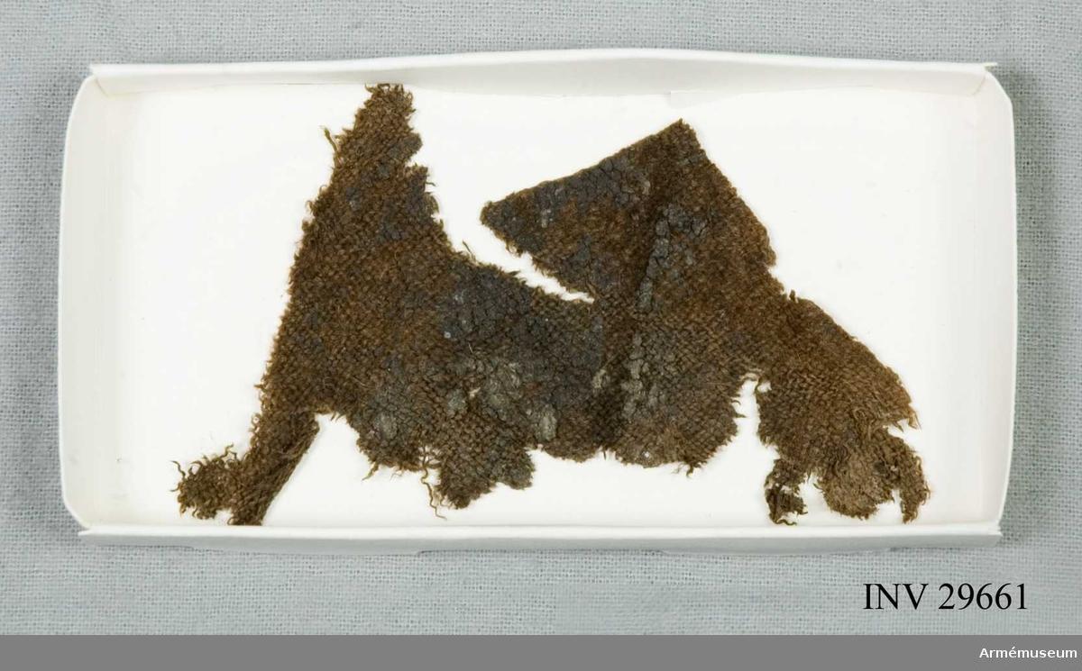 Grupp C I Karolinerfynd från Handöl. Monterade på pappkartong och i Melinex.   Samhörande fynd: AM.11462-3, 29660-75