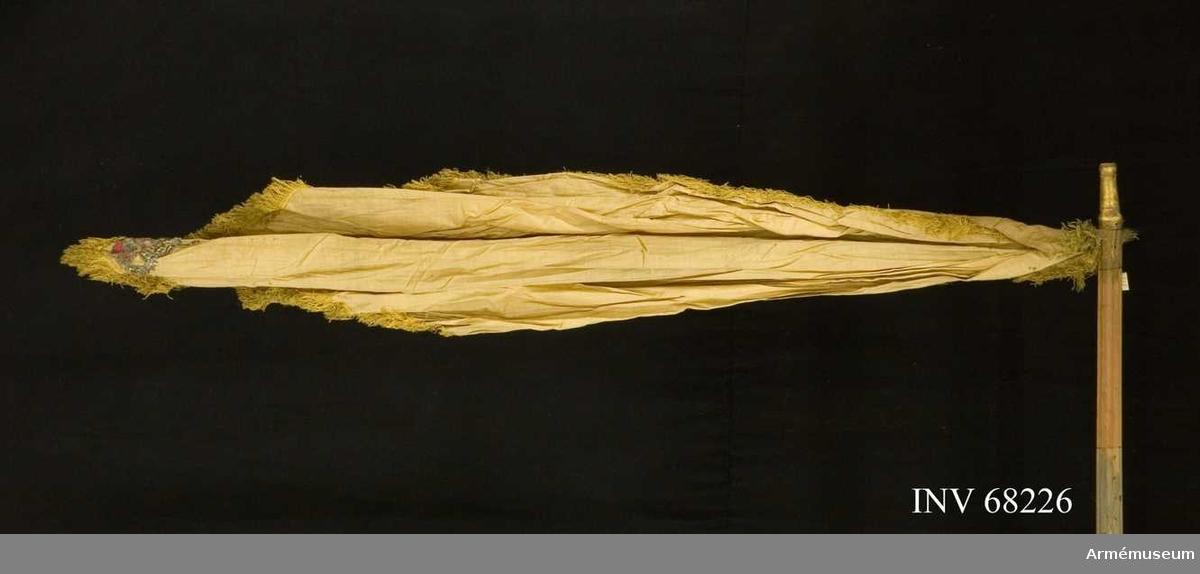 Duk: Tillverkad av enkel bomull. Fäst vid ena dukspetsen, hopveckad upptill (eventuellt tillfälligt hopkommen). I det nedhängande hörnet applicerat en sluten krona broderad i guld och silver med rött kronfoder (tagen från en vit duk).   Frans: Tillverkad enkel av gult silke.  Stång: Tillverkad av trä, gröngulmålad. Delen mellan fanduken och greppet kannelerad. Grepp klätt med vadderat tyg. Kantad med gul frans. Holk av förgylld mässing.