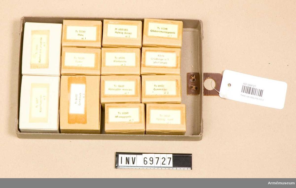 Innehåller askar märkta:  1) R3/06 Glödlampa st 5 (skallampa).  2) M 1835-003 Hylstag (koax ) st 2.  3) Tc 64421 Gummikåpa st 2.  4) Tc 60246 Klämbricka st 3.   5) Tc 11249 HF-stoppspole st 1. 6) Tc 18639 Hylstag (för motvikt) st 1.  7) Tc 11248 Glödströmsstoppspole st 1,  8) Tc 58209 Fjäder st 2.  9) Tc 16507 Kopplingsbleck st 5.  10) Tc 24001 Kastlod med grepplina st1.  11) Tc 18667 Hylstag 4-pol st 1.  12) Tc 64483 Gummikuts st 2.  13) Tc 53261Hake st 1.