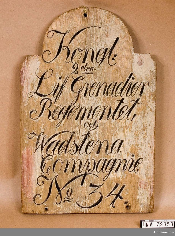 Grupp L. Soldattorpstavla Kongl.2:dra Lif grenadier regementet och Wadstena Compagnie No 34.
