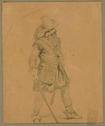 Krigare från 1600-talet [Teckning]