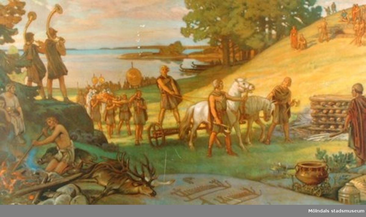 Historia.Mellansvenskt landskap under bronsåldern. På planschen skildras också en gravläggning av en död.