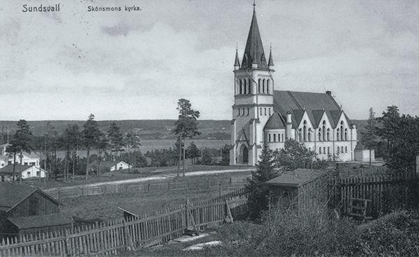 Skönsmons kyrka. Vykort.