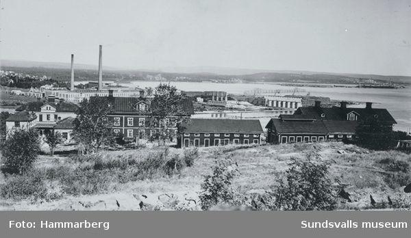 Skönviks folkhögskola t v /KBo-n. Skönviks sågverksarbetarbostäder med namn som Avunden etc /ÅHd.