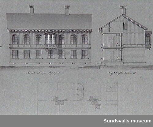 Ritningar på byggnader troligtvis uppförda förebranden 1888.