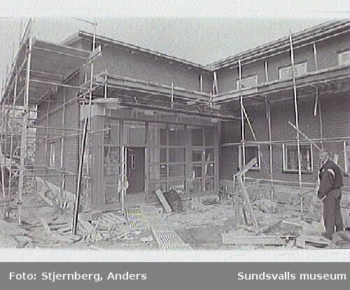 Södermalms skola. Tillbyggnad av skolhuset.