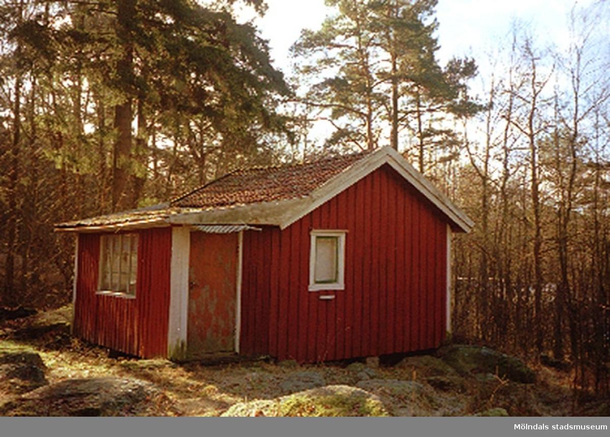 Bostadshus med skog runt omkring.Annestorp 1:17, Annestorp i Lindome februari 1995.