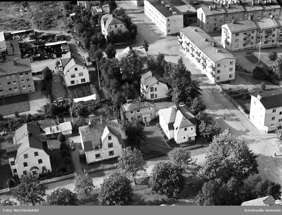 Flygfoton över Grönborgsgatan vid Västra Allén.