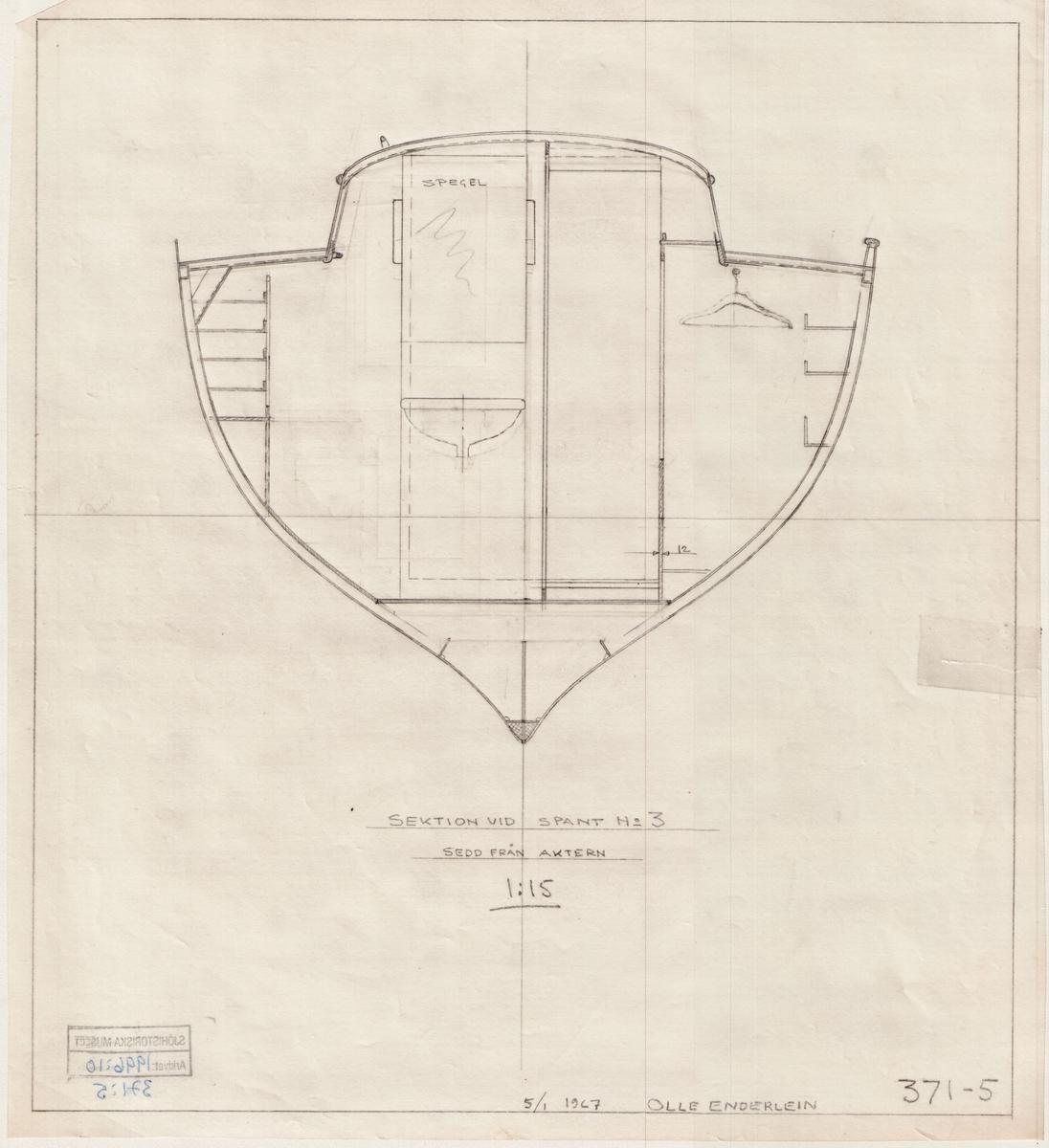 Auxiliary ketch. sektioner, inredning med detaljer
