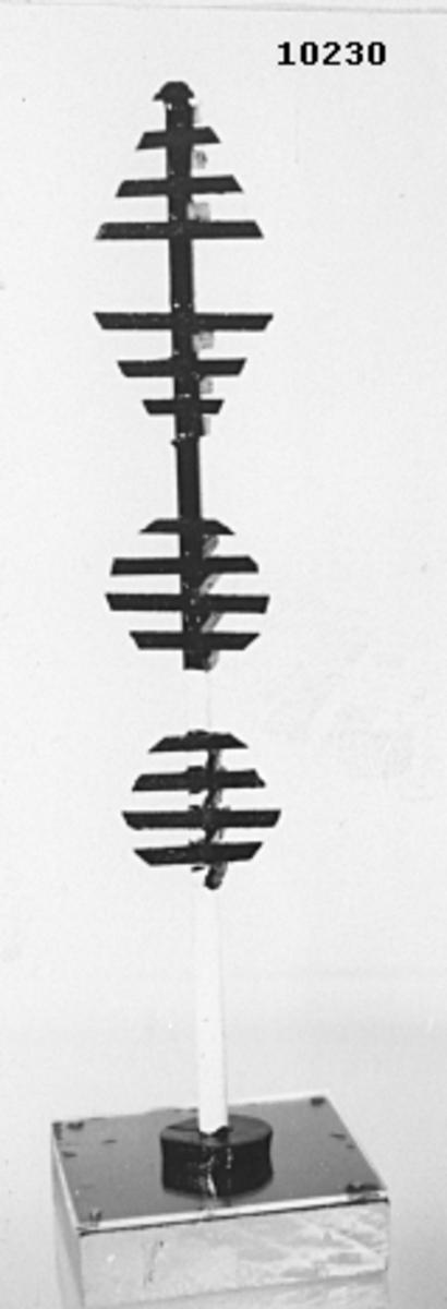 Modell av kon-, tratt- och ballongprick. Består av en rund stång, målad i vitt och svart. I toppen kon, därunder tratt och två ballonger, samtliga svarta. Stången är monterad på en träplatta, botten och sidorna är ljusgrå, översidan är blå. Täckt av ett plexiglas.