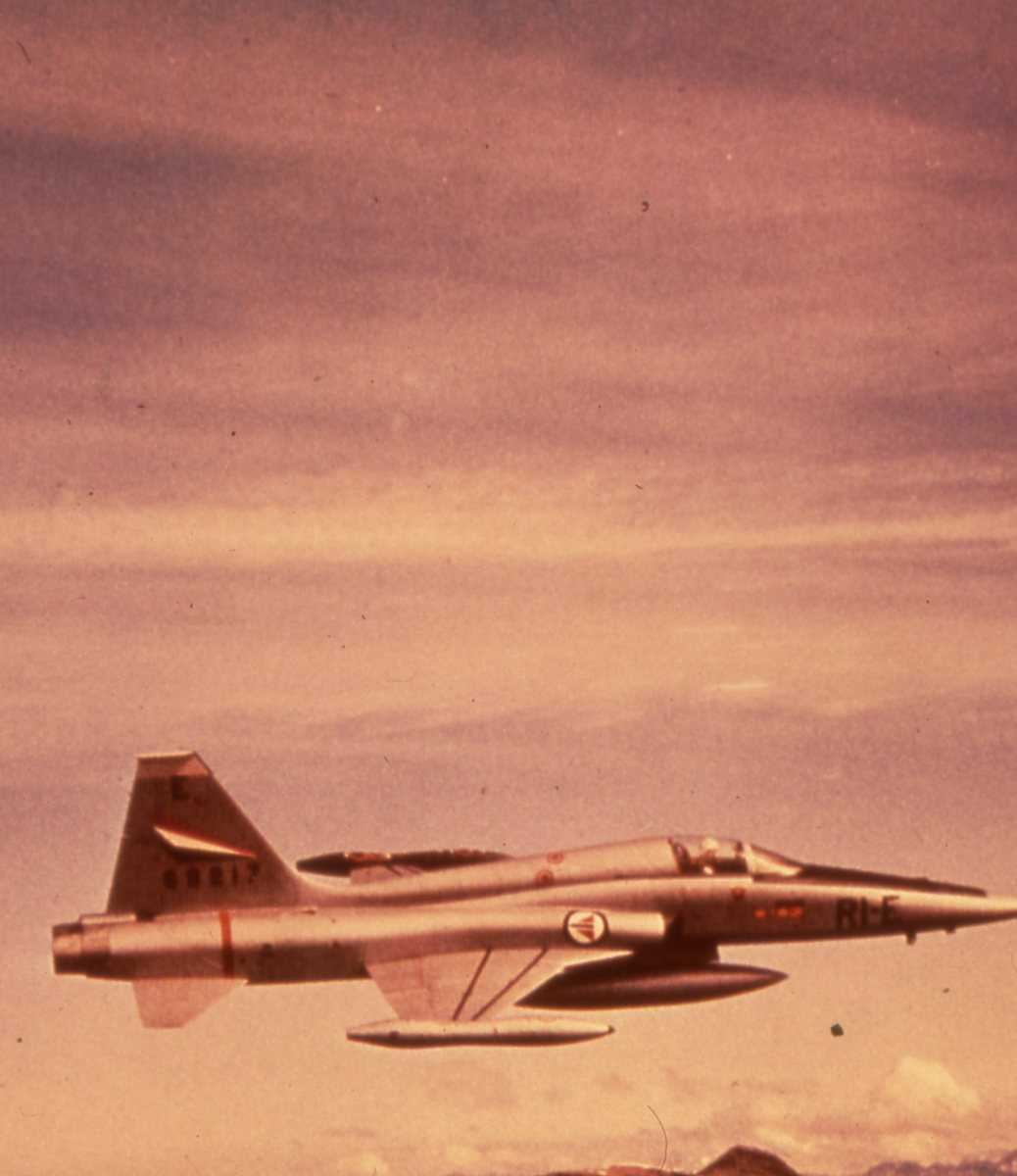 Norsk fly av typen Northrop F-5 Freedom Fighter med nr. 69217 og merking RI-E.