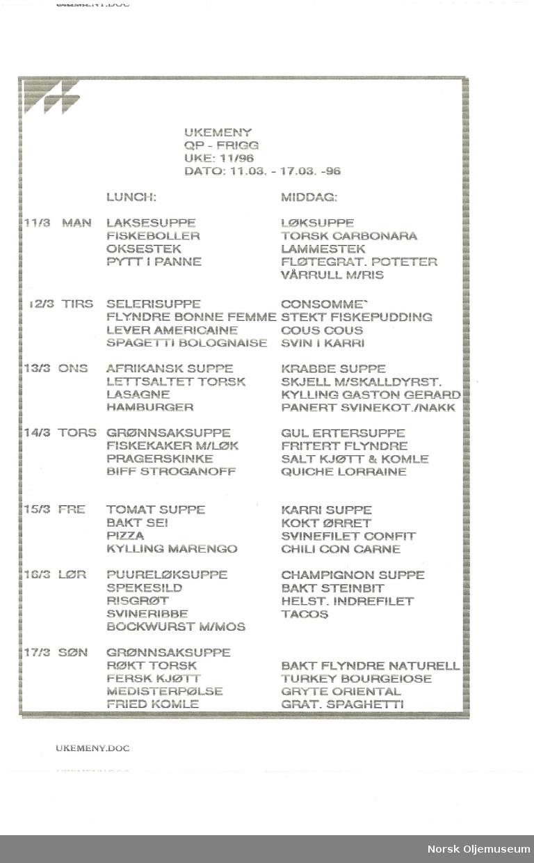 Ukemeny for QP Frigg Uke 11 1996