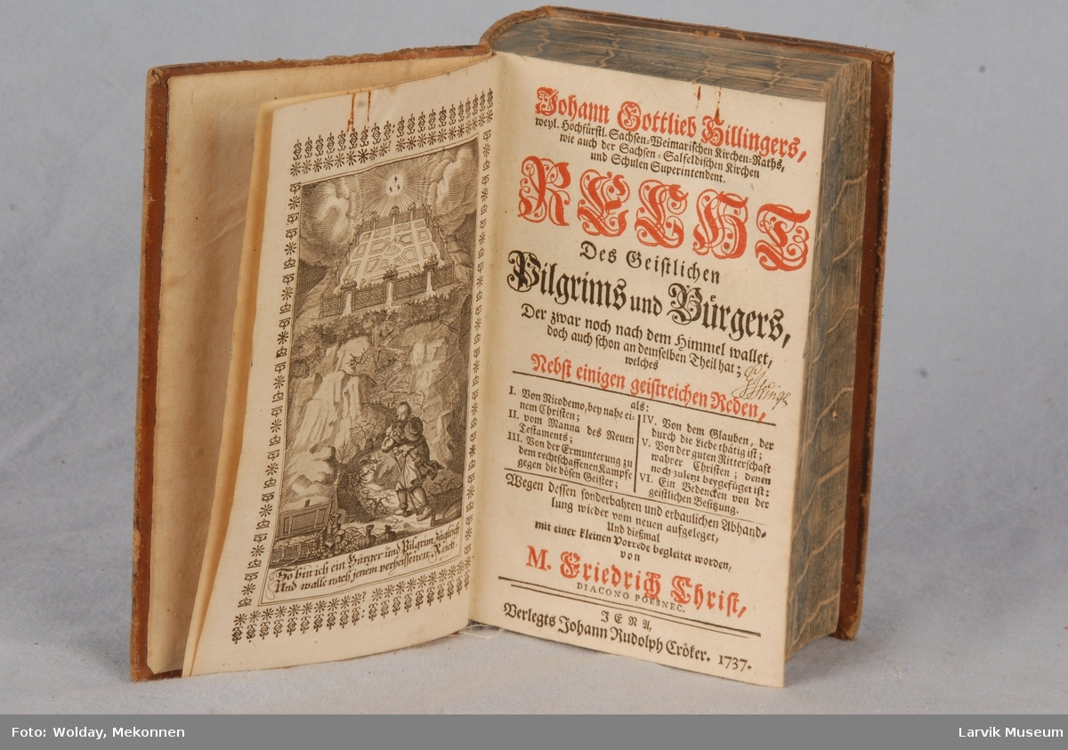 finkobberstukket ill.v. tit.bl. av pilgrim som