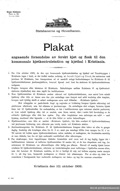 Statsbanerne og Hovedbanen / Plakat angaaende forsendelse av ferskt kjøt og flesk til den kommunale kjøtkontrolstation og kjøthal i Kristiania