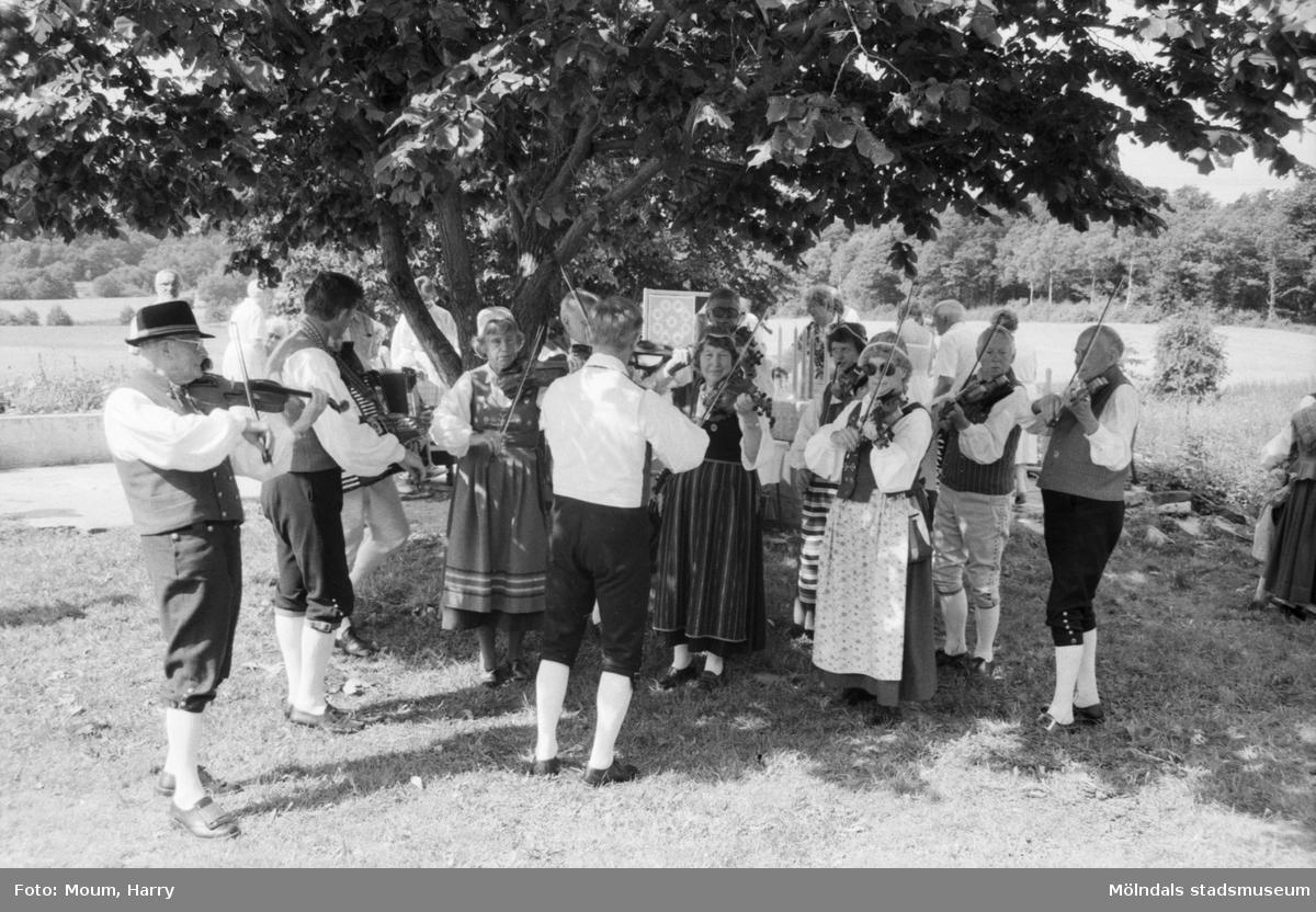 Hembygdsdag på Långåker i Kållered, år 1984. Hällesåkers spelmanslag.  För mer information om bilden se under tilläggsinformation.