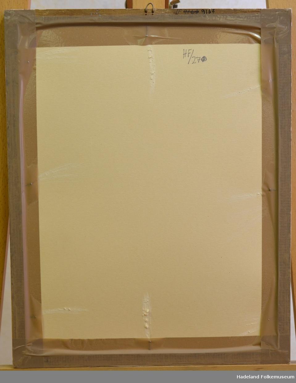 Diplom i glass og ramme. Treramme, forgyllt m. profil. En krok øverst.