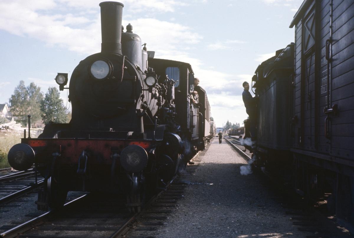 Kryssing mellom to godstog på Arneberg stasjon på Solørbanen.