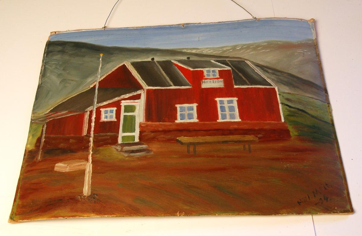 """Hytten """"Hoelsbu"""" med omkringliggende landskap, beliggende i Moskusoksefjorden på Nordaust-Grønland."""