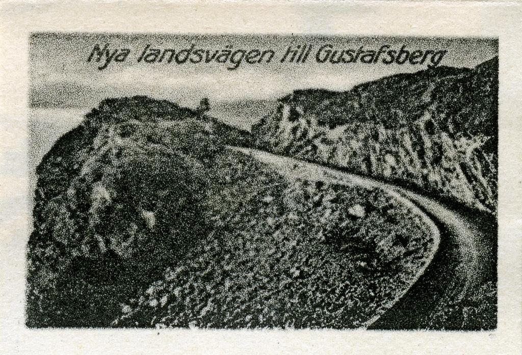 """Text till bilden: """"Nya landsvägen till Gustafsberg""""."""