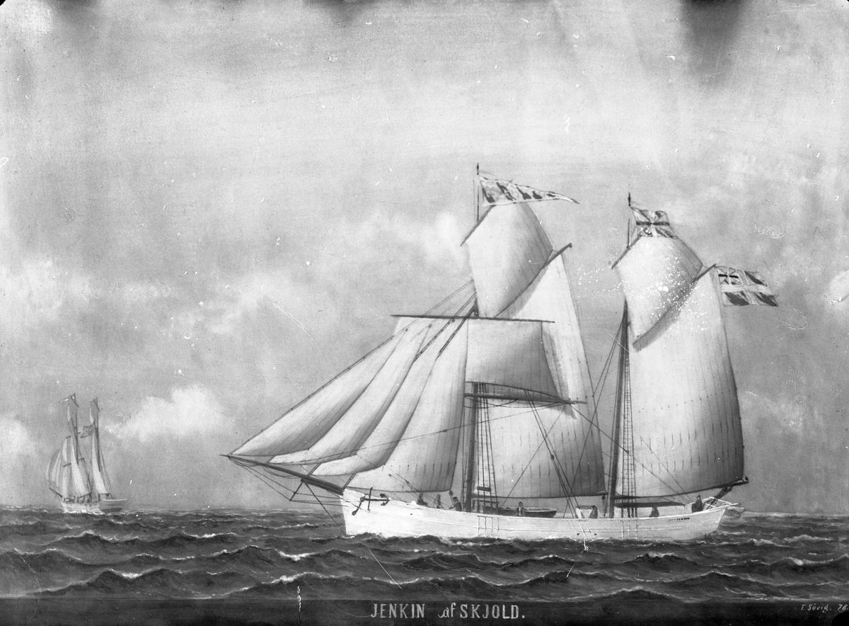 """Avfotografert maleri av galeasen """"Jenkin"""" i åpent farvann. Bak til høyre seiler et annet seilskip."""