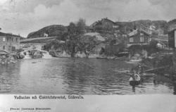 """Postkort. """"Vadbacken och Elektricitetsverket, Uddevalla."""" vi"""