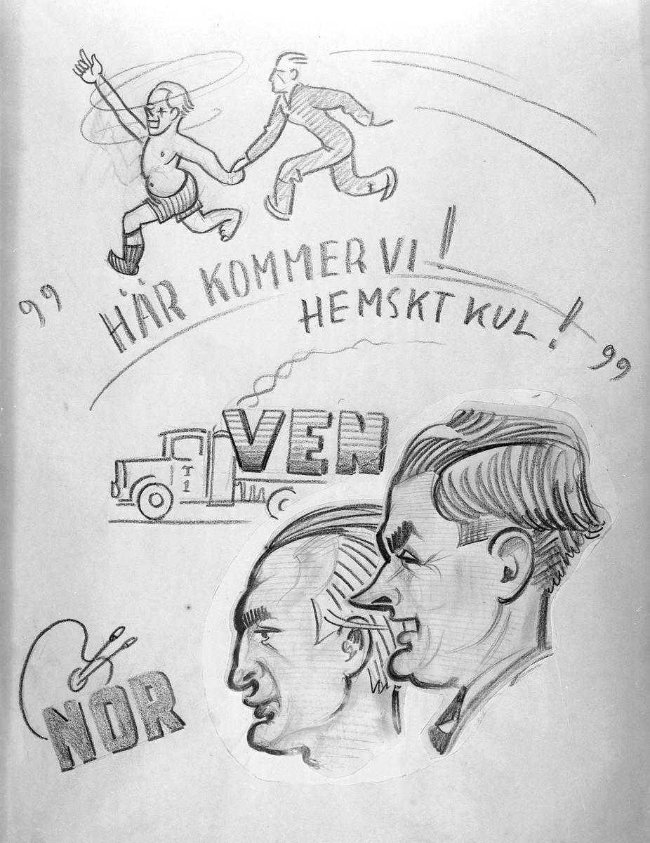 Karikatyrbild av militärer ur flygvapnet, 1930-tal.  Märkt 'VEN', 'NOR'.   Avfotograferad teckning.