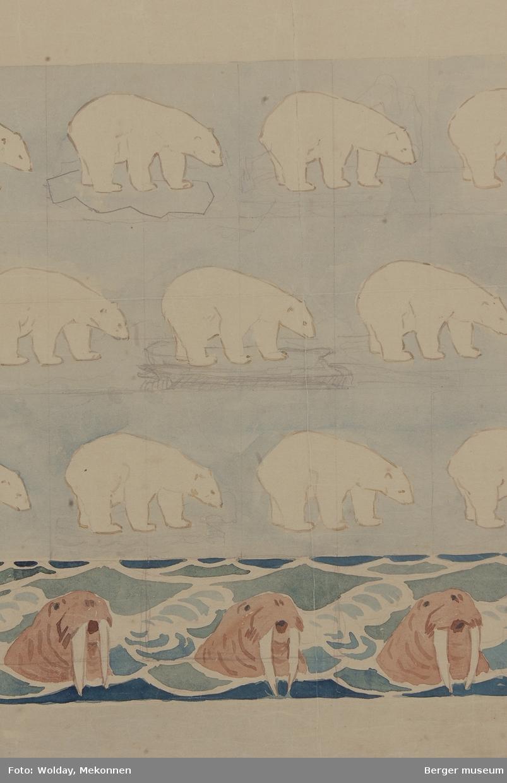 Isbjørn med hvalrossbord.