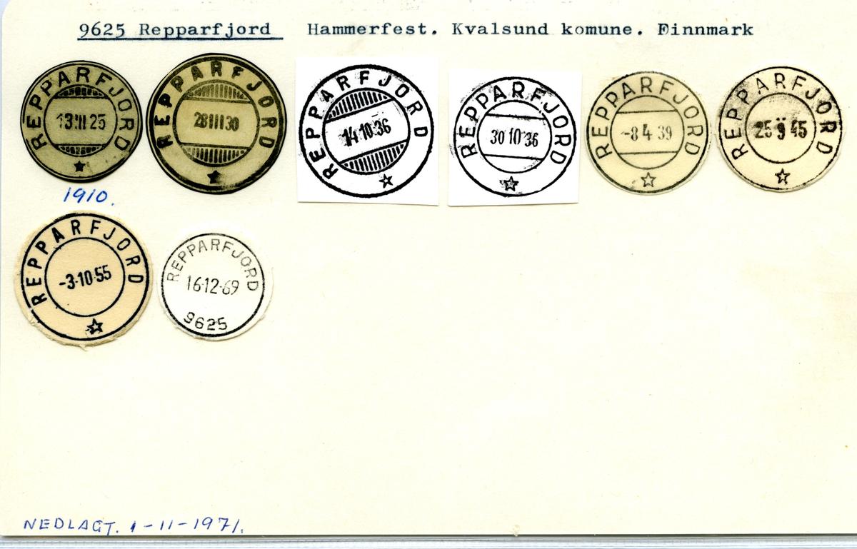 Stempelkatalog 9625 Repparfjord, Hammerfest, Kvalsund, Finnmark